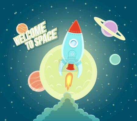 Illustration for Space Rocket Ship Sky Icon Trendy Modern Flat Design Template Vector Illustration - Royalty Free Image