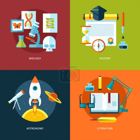 Vector school and education icons set for web design and mobile apps. Illustration for biology, history, astronomy and literature.