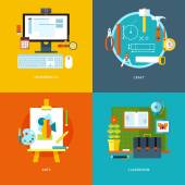 Vector school and education icons set for web design and mobile apps Illustration for informatics craft arts and classroom stuff