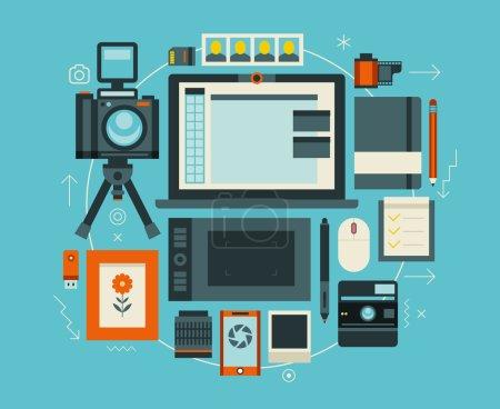 Illustration pour Des trucs et des éléments de photographe. Concept vectoriel plat de l'espace de travail moderne créatif . - image libre de droit
