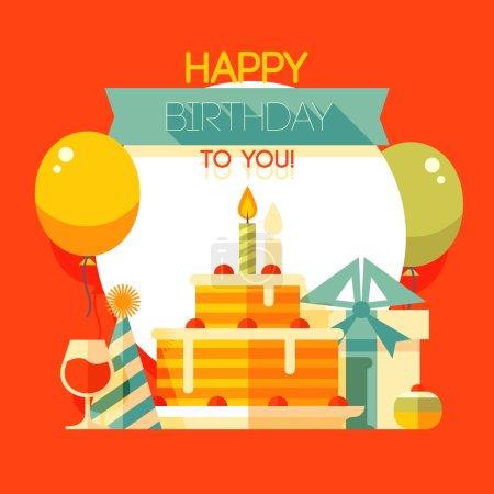 Birthday, anniversary, jubilee party invitation card, postcard design. Vector illustration.