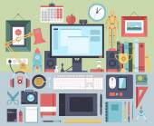 Flat modern design vector illustration concept of creative office workspace workplace