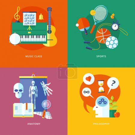 Set of flat design concept icons for school and education. Icons for music, sports, anatomy and philosophy.