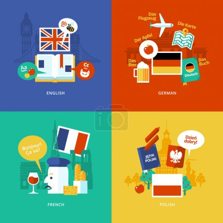 Photo for Set of flat design concept icons for foreign languages. Icons for english, german, french and polish. - Royalty Free Image