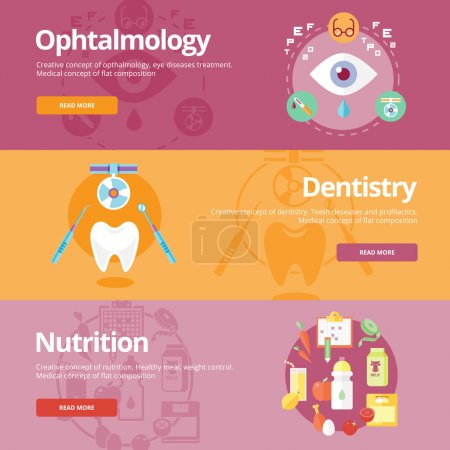 Set of flat design concepts for ophtalmology, dentistry, nutrition. Medical concepts for web banners and print materials.
