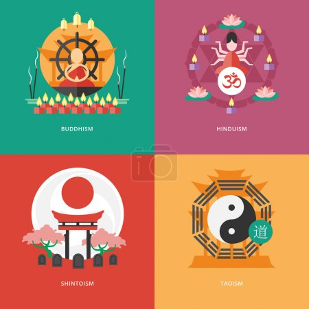 Set of flat design concept icons for religions and confessions. Icons for buddhism, hinduism, shintoism, taoism.