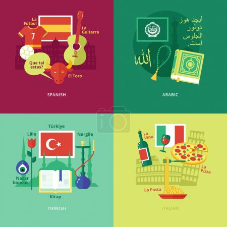 Set of flat design concept icons for foreign languages.