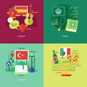 Set of flat design concept icons for foreign languages
