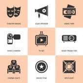 Set of black cinema movie icons