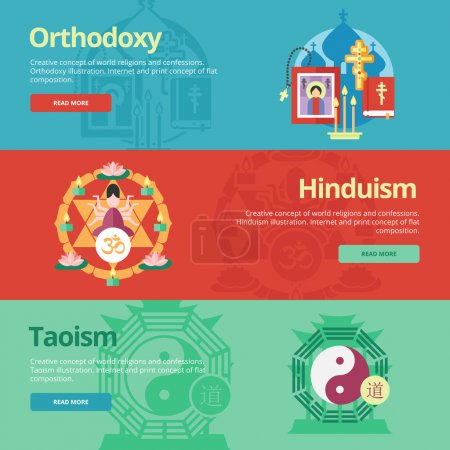 Flat design banner concepts for orthodoxy, hinduism, taoism. Religion concepts for web banners and print materials.