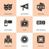 Set of black cinema movie icons Vector cinema stuff in flat style