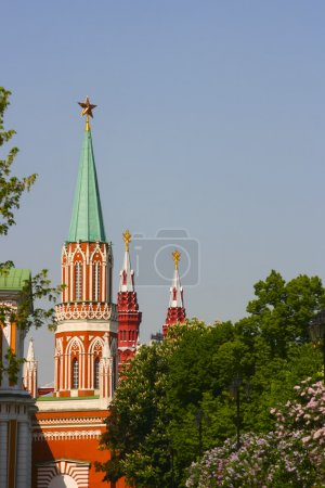 Russia, Moscow, Kremlin, the Kremlin towers spring. Blooming lil