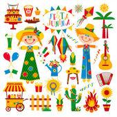 Festa Junina village festival icons