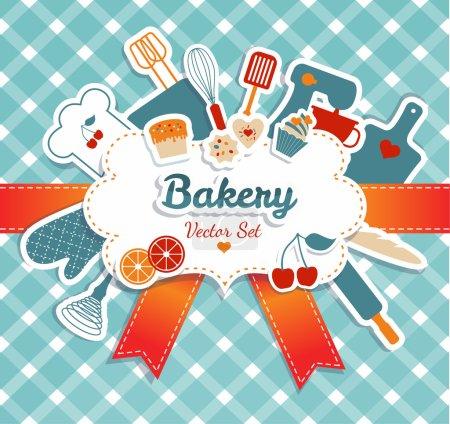 Illustration for Bakery illustration. Kitchen background. - Royalty Free Image