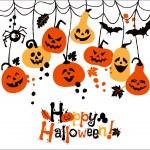 Halloween background of cheerful pumpkins....