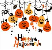 Halloween background of cheerful pumpkins