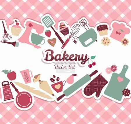 Illustration pour Boulangerie et illustration sucrée sur fond rose - image libre de droit