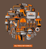 Buildings tools icons set