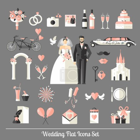 Wedding symbols set.