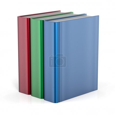 Books standing three blank cover no labels template textbook