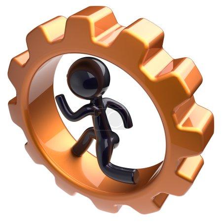 Businessman character running inside gearwheel hard job