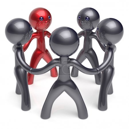Teamwork circle people social network individuality character