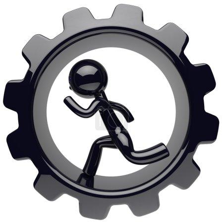 Man character running inside gearwheel cogwheel hard work