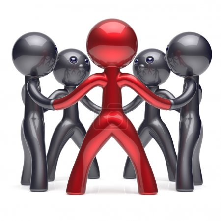 Photo for Leadership teamwork circle people social network human resources individuality character friendship team five cartoon friends unity meeting icon concept red black. 3d render isolated - Royalty Free Image