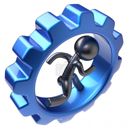 Running man character human inside gearwheel stylized icon