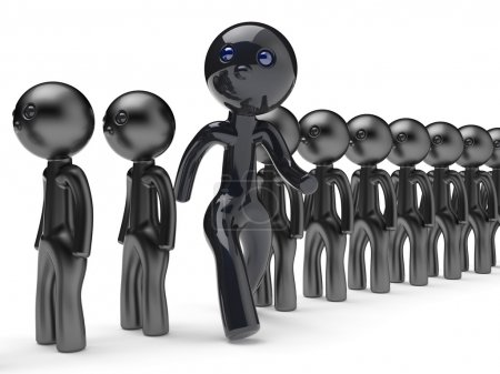 Different people man stand out from crowd giant character