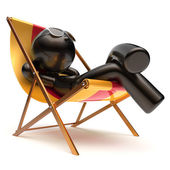 Man relaxing beach deck chair carefree chilling summer rest