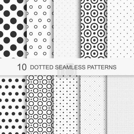 Patterns with circles and dots, black and white texture, seamless vector backgrounds.