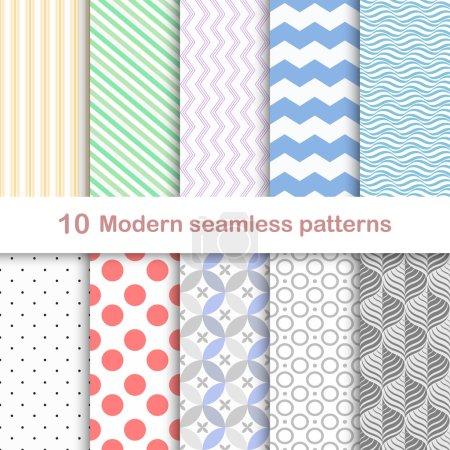 Illustration pour 10 modèles vectoriels modernes différents, sans couture - image libre de droit