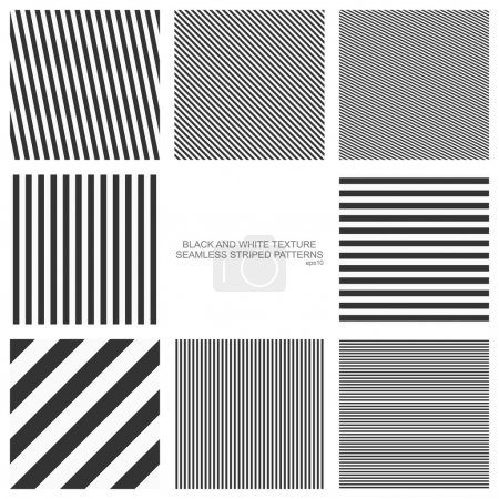 Set of seamless patterns, straight stripes, black and white texture. Vector backgrounds