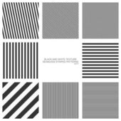 Set of seamless patterns straight stripes black and white texture Vector backgrounds