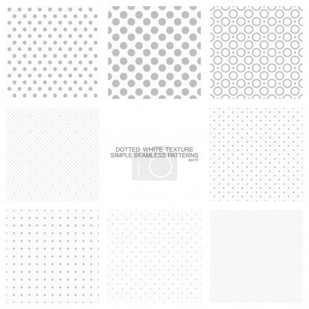Illustration for Set of simple seamless dot backgrounds, vector patterns for your design eps10 - Royalty Free Image