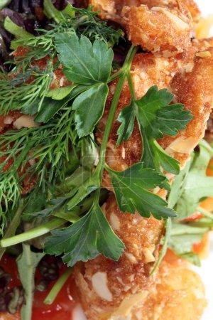 Shrimp with greens