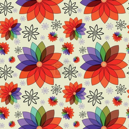 Seamless texture with abstract colorful flowers
