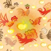 Seamless texture with colorful birds and apples on light colored background