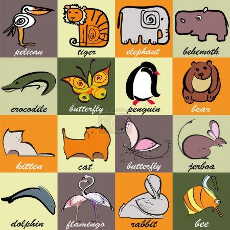 Illustration pour Ensemble de différents animaux et oiseaux sur fond lumineux et coloré avec des carrés. Pélicane stylisé, tigre, éléphant, monstre, crocodile, papillon, pingouin, ours, chaton, chat, jerboa, dauphin, flamant rose, lapin, abeille - image libre de droit