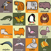 Set of different animals and birds on bright colorful background with squares Stylized pelicane tiger elephant behemoth crocodile butterfly penguin bear kitten cat jerboa dolphin flamingo rabbit bee