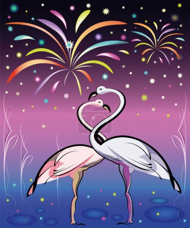 Pink flamingos couple