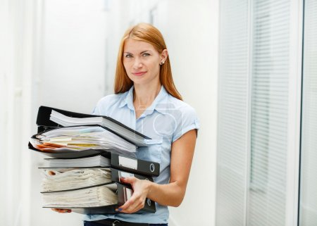 Business woman with hard work stress  in office on work place in office