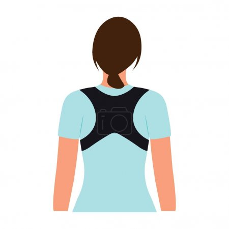 Illustration for Woman with posture corrector. Scoliosis, Kyphosis treatment. Female wearing back support belt for support and improve posture.Vector illustration - Royalty Free Image
