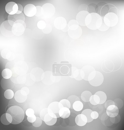 Silver elegant abstract background with bokeh lights