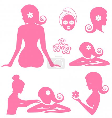 Illustration for Spa woman  vector on white background - Royalty Free Image