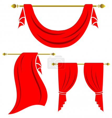 Illustration for Red curtain vintage vector set on white background - Royalty Free Image