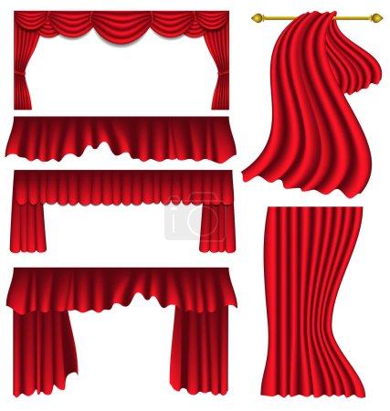Illustration pour Ensemble de rideaux de soie rouge de luxe - image libre de droit