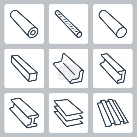 Rolled metal products icons set