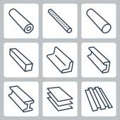 Rolled metal products vector icons set